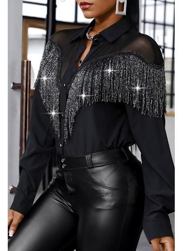 BLACK&GRACE Siyah Püsküllü Selanik Kumaş Gömlek Siyah